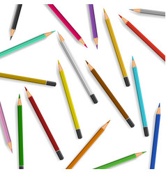 Scattered pencils on white background vector