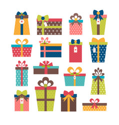 set different gift boxes colorful wrapped gift vector image