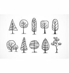 set doodle sketch trees on white background vector image