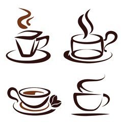 Set of coffee cups icons vector