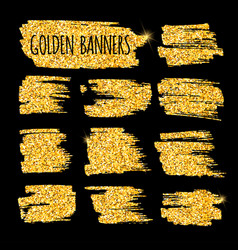 Set of glitter golden banners and brushes vector