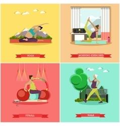 Set of healthy pregnancy flat design vector