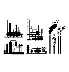 Set of industrial building facroty silhouettes vector
