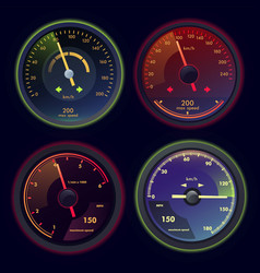set of isolated speedometers for dashboard vector image