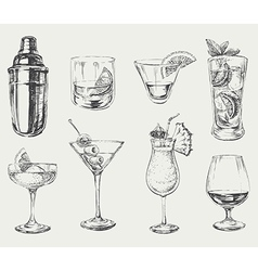 Set of sketch cocktails and alcohol drinks vector image