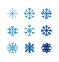 Set of snowflakes of blue shades vector