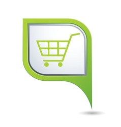 Shop basket on green map pointer vector