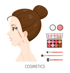 side view woman with hair bun make-up eyeshadow vector image