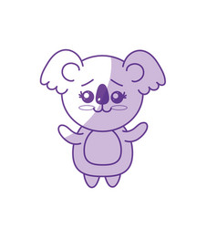 Silhouette cute koala wild animal with face vector