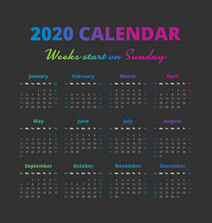 Simple 2020 year calendar weeks start on sunday vector