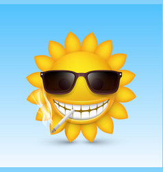 Smiley sun glasses smoke vector