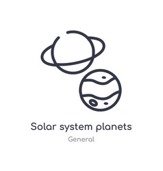 Solar system planets outline icon isolated line vector