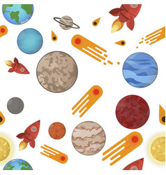 space seamless pattern planets comets and rocket vector image