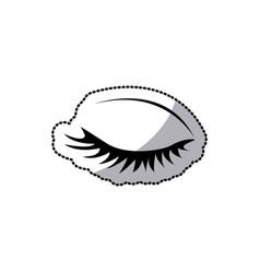 Sticker silhouette woman eye closed vector