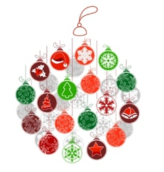 Stylized Christmas ball made of small ones vector image
