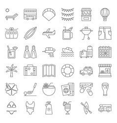 summer vacation outline icon set vector image