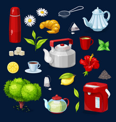 Tea objects isolated icons set teapot cup vector