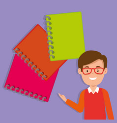 teacher male with school notebooks vector image