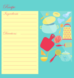 the recipe sheet for cooking vector image