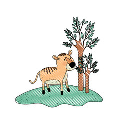 tiger cartoon in forest next to the trees in vector image