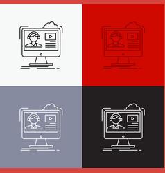 tutorials video media online education icon over vector image