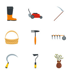 village tool icon set flat style vector image