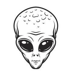 Vintage monochrome alien face concept vector