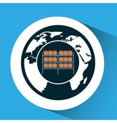 Warehouse boxes with globe icon vector