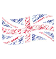 waving united kingdom flag collage of barbed wire vector image