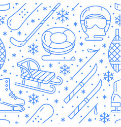 winter sports blue seamless pattern equipment vector image