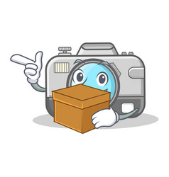 with box photo camera character cartoon vector image