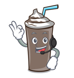With headphone ice chocolate mascot cartoon vector