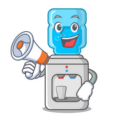 With megaphone cartoon water cooler for office and vector