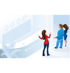 woman receptionist welcome couple tourist at hotel vector image