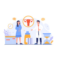 Woman who have period pain visit doctor vector