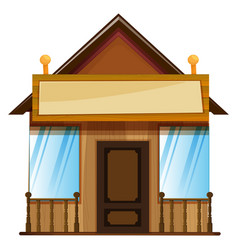 Wooden hut with sign on top vector