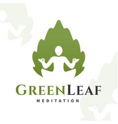 yoga leaf logo concept harmony insignia vector image