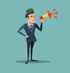 cartoon businessman with megaphone announcement vector image