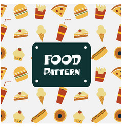 food pattern pizza burger bakery ice cream backgro vector image