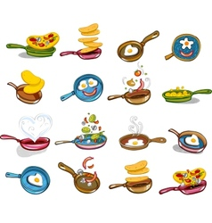 Frying pans with tasty food vector image