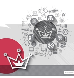 Hand drawn crown icons with icons background vector image vector image