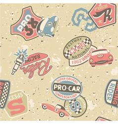 Kids racing badges elements vector