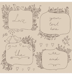 romantic set of floral frames with couple vector image vector image