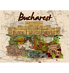 bucharest doodles with grunge vector image