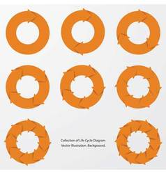 collection of orange color arrow circle flows vector image