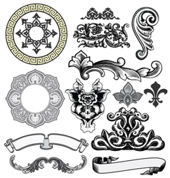 floral decorative woodprint design elements vector image