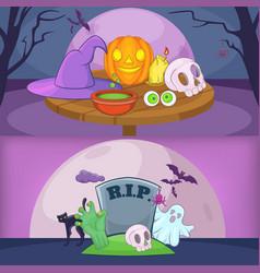 happy halloween banner backgrouns set cartoon vector image