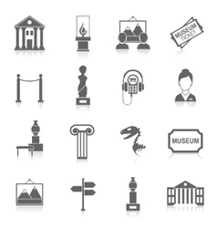 Museum icons black vector image