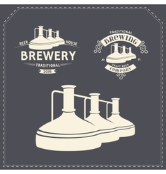 Set - beer brewery elements icons logos vector image