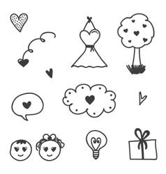 Set of Valentines Day doodles vector image